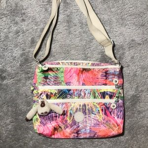 Kipling Multicolor Leaf Pattern Crossbody Bag
